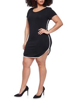 Plus Size Shirttail Dress - 1990066491642