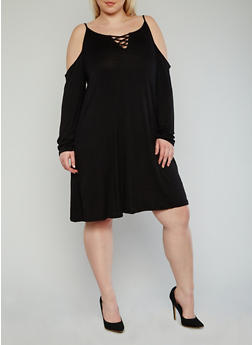 Online Exclusive - Plus Size Long Sleeve Cold Shoulder Dress with Lace Up Neck - BLACK - 1990066491896