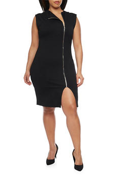Online Exclusive - Plus Size Zip Up Ponte Knit Dress - BLACK - 1990068196061