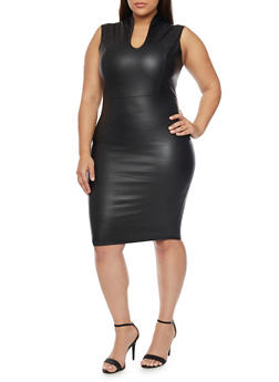 Online Exclusive - Plus Size Sleeveless Plunge Neck Faux Leather Bodycon Dress - 1990068514204
