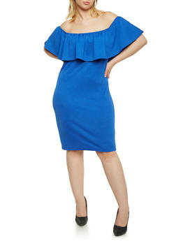 Online Exclusive - Plus Size Off the Shoulder Dress with Ruffle Neckline - 1990069551278