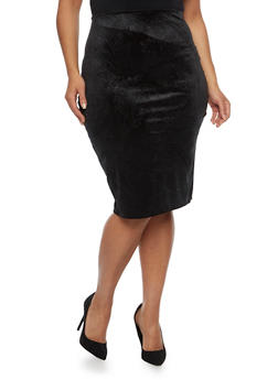 Online Exclusive - Plus Size Midi Skirt in Embossed Velvet - 1991020629144