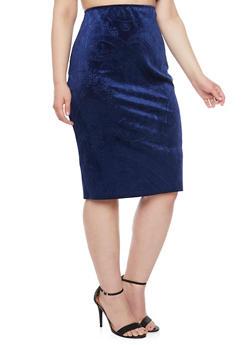 Online Exclusive - Plus Size Midi Skirt in Embossed Velvet - 1991020629144
