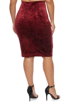 Plus Size Midi Skirt in Embossed Velvet - 1991020629144