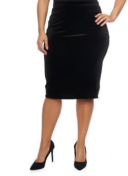 Plus Size Velvet Pencil Skirt - 1991063407040