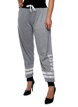 Online Exclusive - Plus Size French Terry Love Joggers - HEATHER - 1991072294900