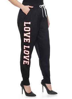 Online Exclusive - Plus Size Love Graphic Joggers - BLACK - 1991072295600