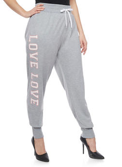 Online Exclusive - Plus Size Love Graphic Joggers - HEATHER - 1991072295600