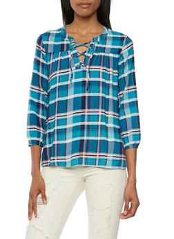 Plaid Top with Lace Up Neck - 3001015993460