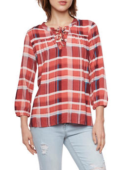 Plaid Top with Lace Up Neck - 3001015993461