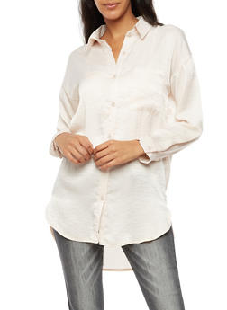 Satin Button Front Top - 3001015994465