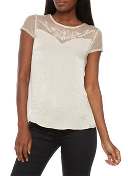 Short Sleeve Satin Blouse with Lace Detail - 3001015995071