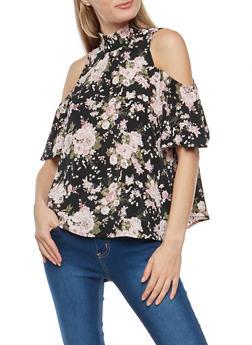 Floral Cold Shoulder Mock Neck Top - 3001015996370