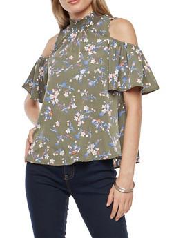 Floral Cold Shoulder Mock Neck Top - OLIVE COMBO - 3001015996370