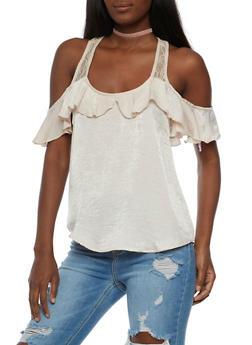 Lace Detail Cold Shoulder Top - 3001015997681