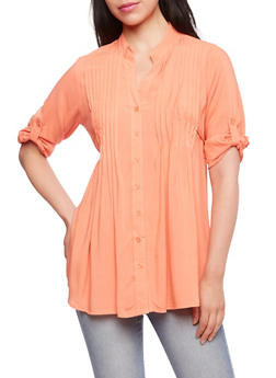 Darted Blouse with V-Neck - 3001038347640