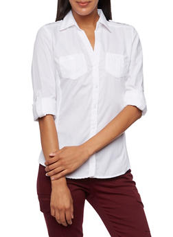 Button-Front Shirt with Rib-Knit Panels - 3001051066621