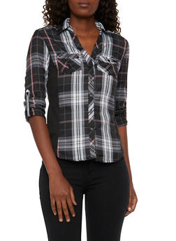 Plaid Button Front Top with Rib Knit Paneling - 3001051066623