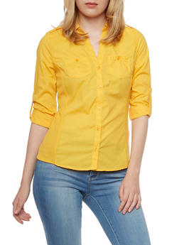 Button Front Shirt with Rib Knit Side Panels - MUSTARD - 3001051066624