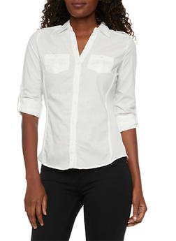 Button Front Shirt with Rib Knit Paneling - 3001051066625