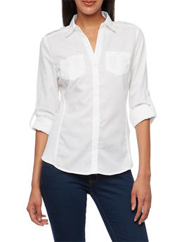 Button-Up Top with Rib-Knit Side Insets - 3001051066626