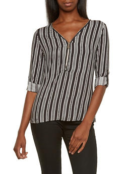Striped Print Blouse with Zipper Neck and Convertible Sleeves - 3001051068135