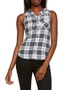 Plaid Top with Attached Hood - 3001051068216