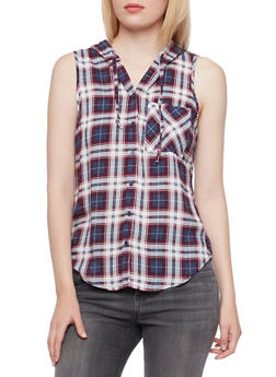 Plaid Top with Attached Hood - NAVY - 3001051068216