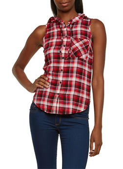 Plaid Top with Attached Hood - RED - 3001051068216