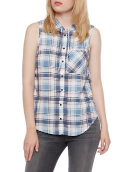Plaid Top with Attached Hood - DUSTY BLUE - 3001051068216