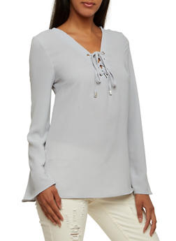 Textural Top with Lace-Up V-Neck - 3001051068362