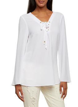 Textural Bell Sleeve Top with Lace-Up V-Neck - 3001051068363