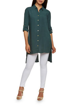 Button Front Tunic Top with Split Back - 3001051068377