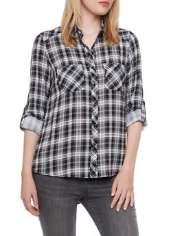 Plaid High-Low Boyfriend Shirt - 3001051068390