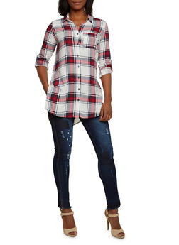 Plaid Button-Up Top with Side Slits - 3001051068458