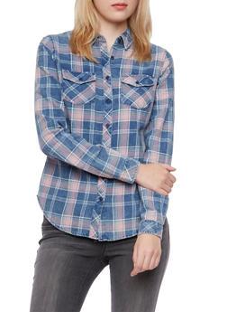 Faded Plaid Boyfriend Button-Down Shirt - 3001051068459