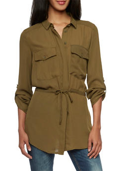 Button Up Tunic Top with Drawstring Waist and Pockets - 3001051068465