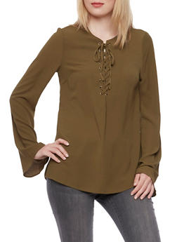 Crepe Lace-Up Top - OLIVE - 3001051068537
