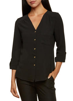 Crepe Button Front Top - 3001051068594