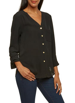 Crepe Blouse with Button-Cuff Sleeves - 3001051068595