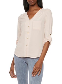 Crepe Blouse with Button-Cuff Sleeves - BLUSH - 3001051068595