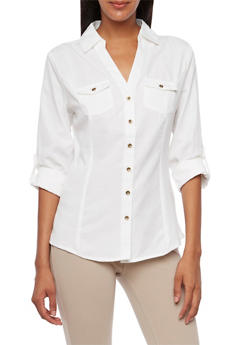 Jacquard Striped Button-Up Top with Rib-Knit Insets - 3001051068712