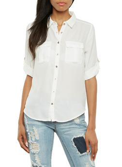 Chiffon Button-Up Top with Metallic Buttons - IVORY - 3001051068736