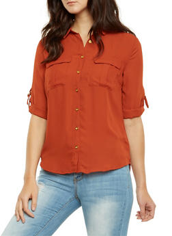Chiffon Button Front Top with Chest Pockets - 3001051068737