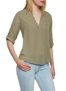 Mandarin Collar Chiffon Shirt - 3001051068739