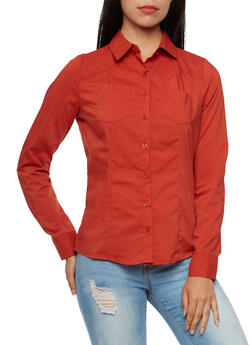 Poplin Button-Down Top with Two Pockets - 3001051068754