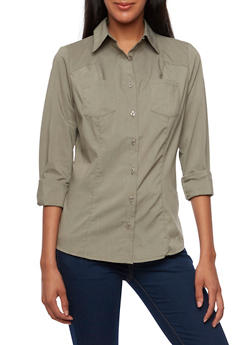 Basic Long Sleeve Button-Down Top - 3001051068755