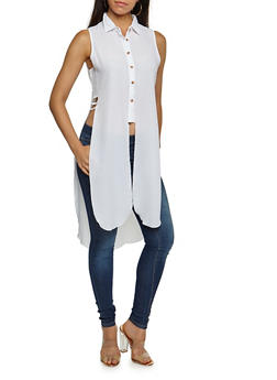 Sleeveless Crepe Knit Button Front Maxi Top - WHITE - 3001051069082