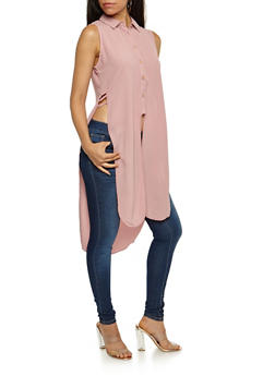 Sleeveless Crepe Knit Button Front Maxi Top - MAUVE - 3001051069082