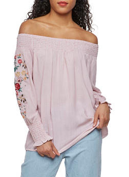 Off the Shoulder Striped Top with Floral Embroidery - 3001051069277